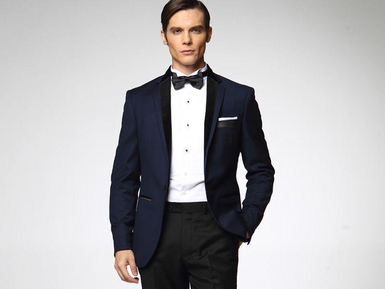 Mens Suits Blue Wedding Suits For Men Black Notched Lapel Slim Fit