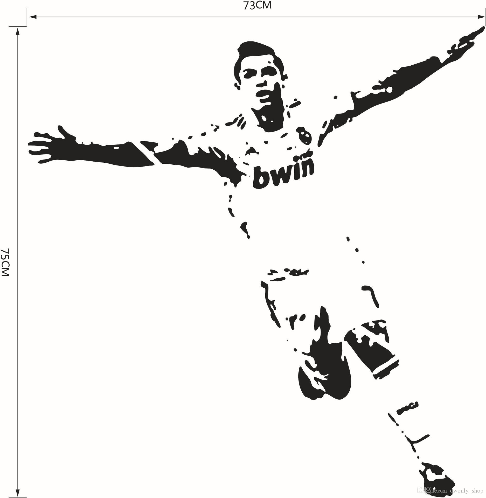 Football soccer star home decor wall stickers pvc vinyl for Cristiano ronaldo wall mural