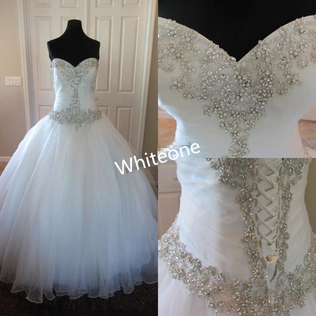Cheap Real Photos 2016 A Line Wedding Dresses Sweetheart Beaded Floor Long Plus Size Corset