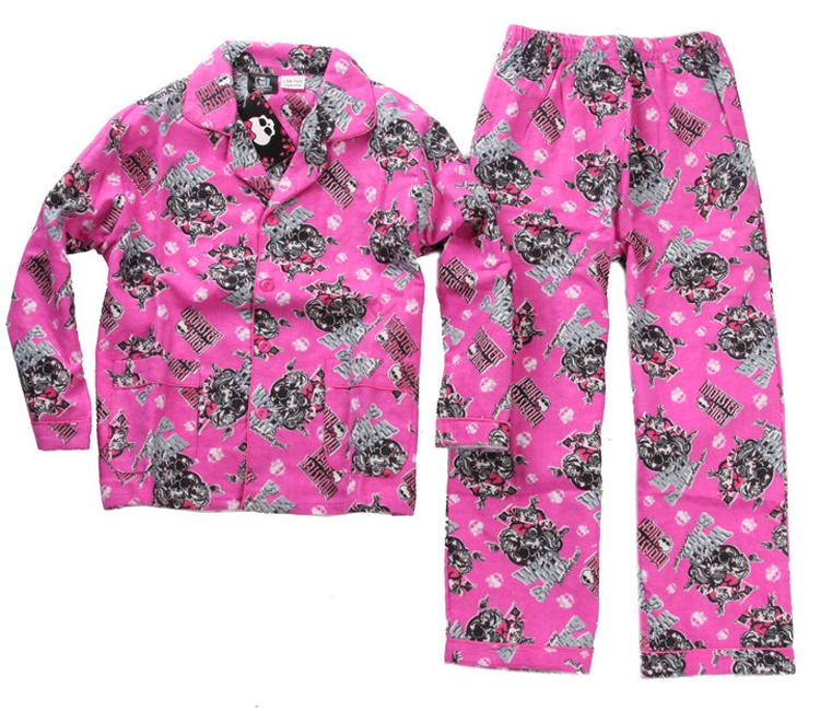 2014 Kids Pajamas Girls Monster High Cotton Pyjamas Set Cartoon ...