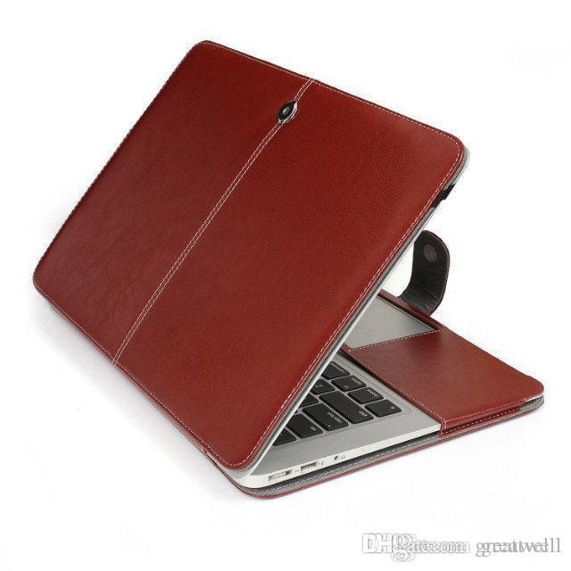 Portable faux leather laptop folio book wallet cover case for Housse macbook pro retina