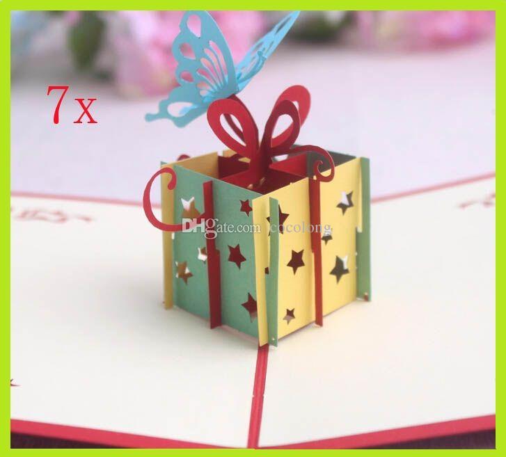 3d Handmade Card Happy Birthday Gift Box Butterfly Creative 3d – Creative Birthday Card Messages