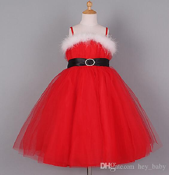 Children Christmas Dress Red Color White Feather Girls Dresses ...