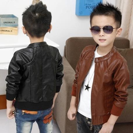 2015 New Boys Coats Faux Leather Jackets Children Fashion