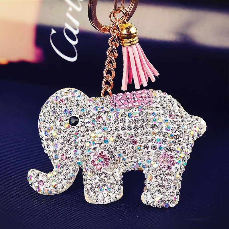 crystal elephant leather keychain colorful rhinestone pave tassel animal key chains women key. Black Bedroom Furniture Sets. Home Design Ideas