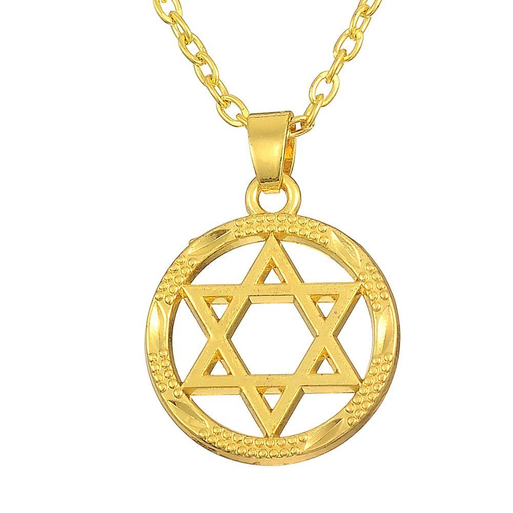 Wholesale star of david pendant religious round 18k gold for Star of david jewelry wholesale