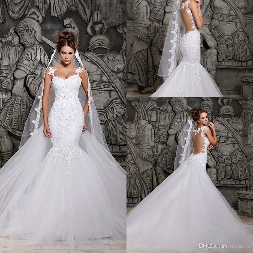 Cheap overskirt mermaid wedding dresses 2016 spaghetti for Wedding dress with overskirt