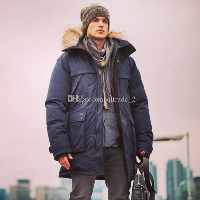 Nobis Yatesy Long Parka Navy Man Down Jacket with Real Fur ...