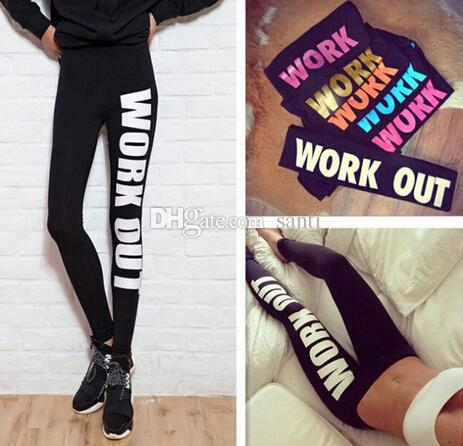 New Arrive Woman Clothing WORK OUT Letters Leggings Slim Sexy Sportswear Gym Sports Fitness Leggings Winter Pants