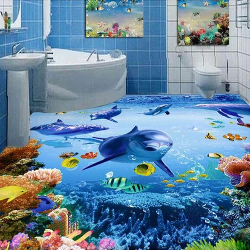 custom photo wallpaper 3d waterproof floor creative marine bathroom floor mural wallpaper pvc. Black Bedroom Furniture Sets. Home Design Ideas