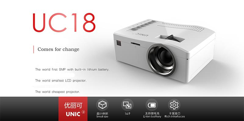 Newest ultra mini projector unic uc18 hd 1080p video for Good mini projector