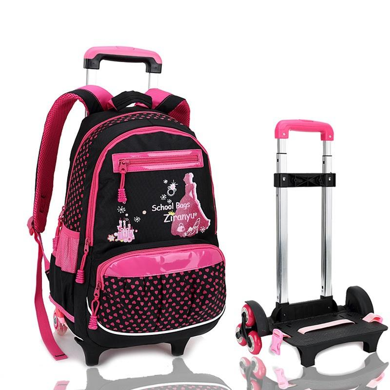 Printing Bagpack Girls Trolley School Bags Wheeled Backpack Bag on ...
