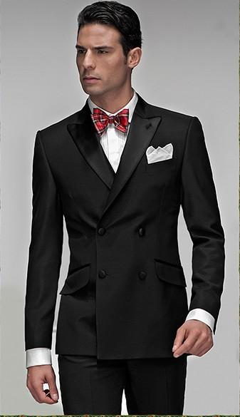 New Design Double-breasted Peak Lapel Groom Tuxedos Slim Fit ...