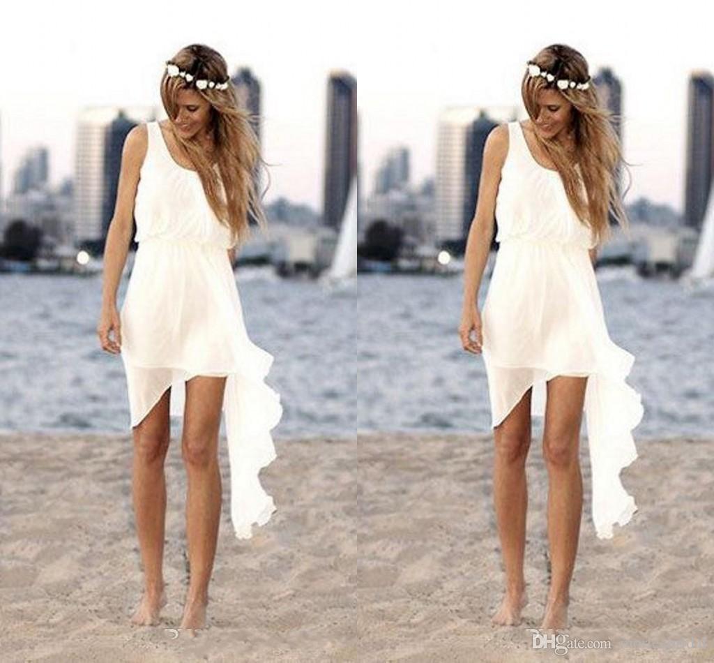 Discount 2015 chiffon flowing short beach wedding dresses for Short flowing wedding dresses