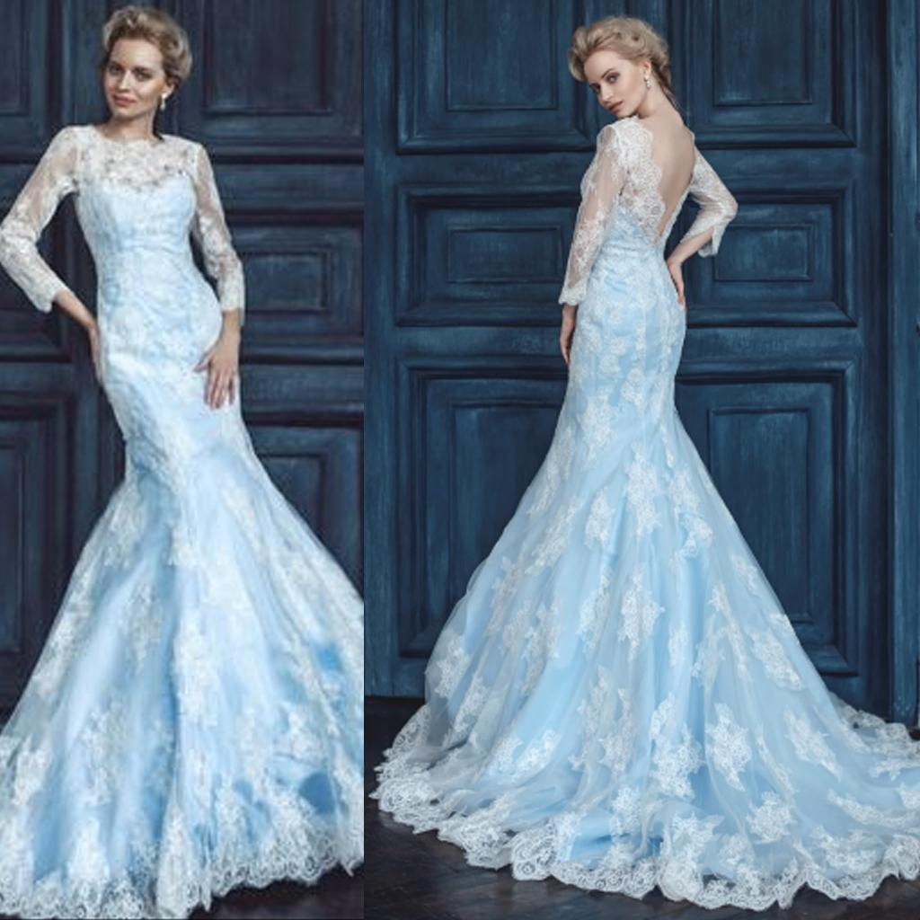 2015 Light Blue And White Wedding Dress Mermaid Sheer Crew ...