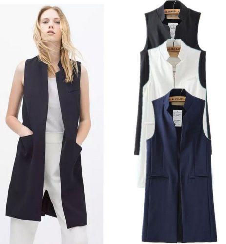 Women Long Vest Jacket Casual Fashion Office Wear Open Stitch Slim ...