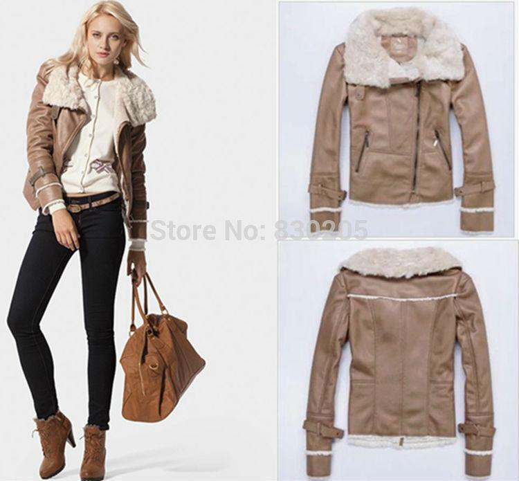 Best Fur&ampLeather Lapel Zipper Aviator Jacket Suede Fabric Leather