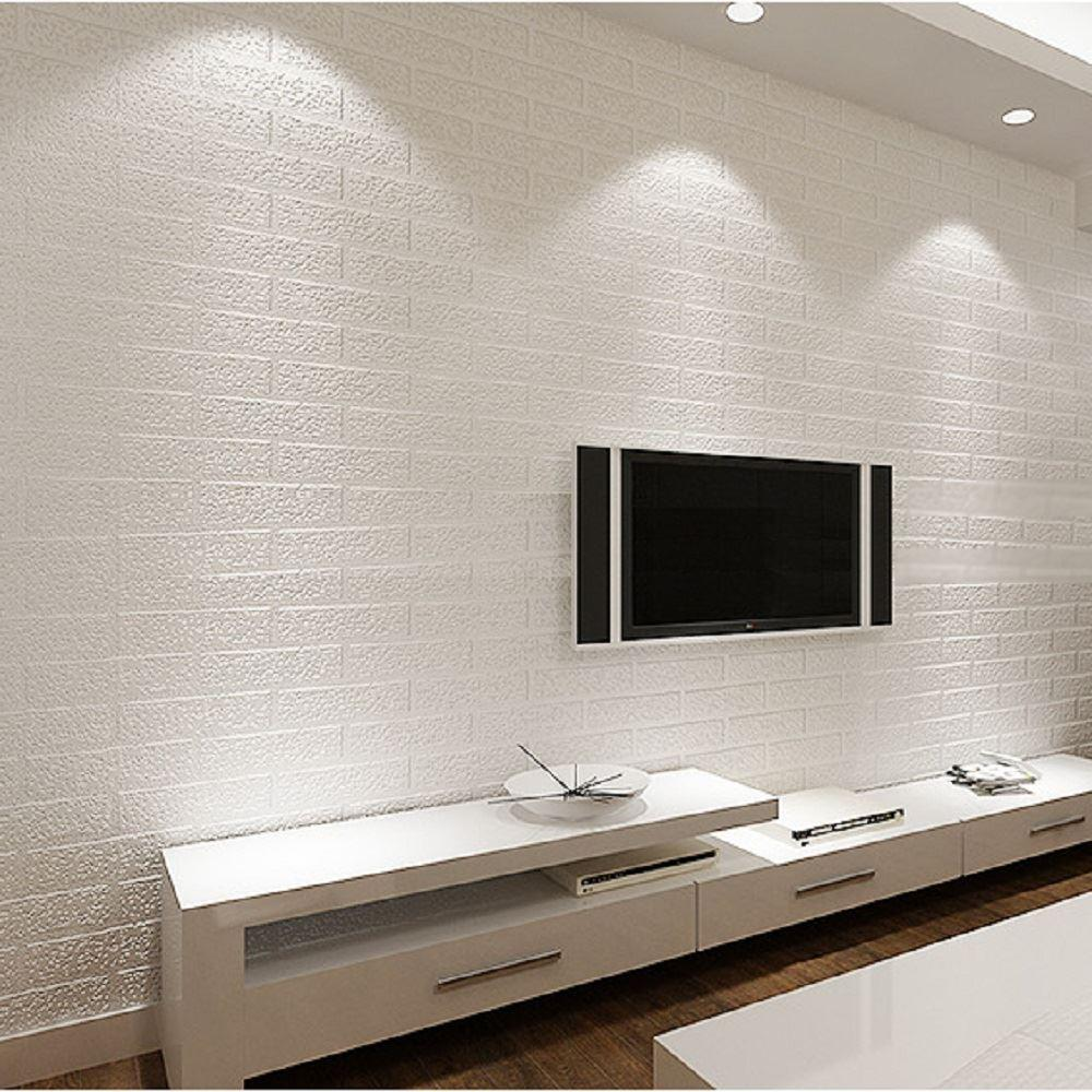 Modern D Textured Pure White Brick Wallpaper Classic Rustic Faux - Wallpaper designs for living room wall