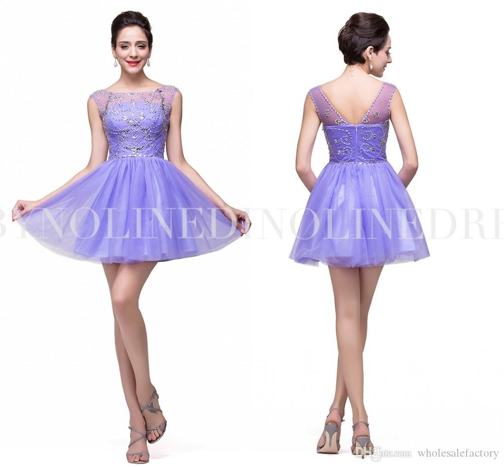 Lavender Homecoming Dresses 2017 Sheer Neck Cap Sleeves Crystal ...