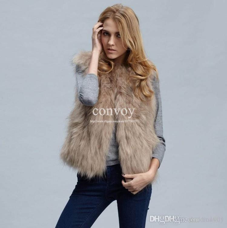Womens Faux Fox Fur Vest Winter Warm Jacket Top Wear Short ...