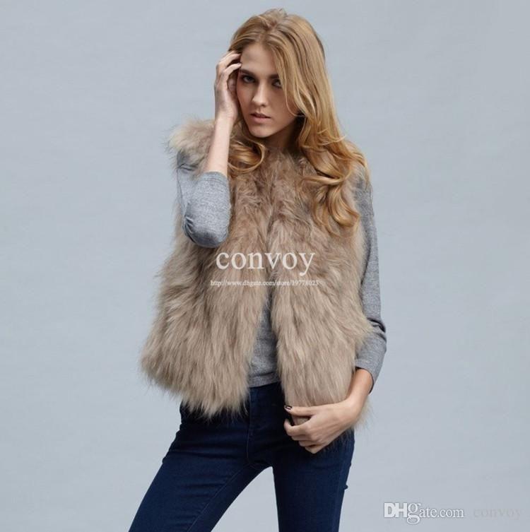 Womens Faux Fox Fur Vest Winter Warm Jacket Top Wear Short ...