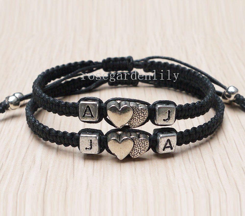 Handmade Initials Bracelet,initials Couples Bracelet,Lovers ...