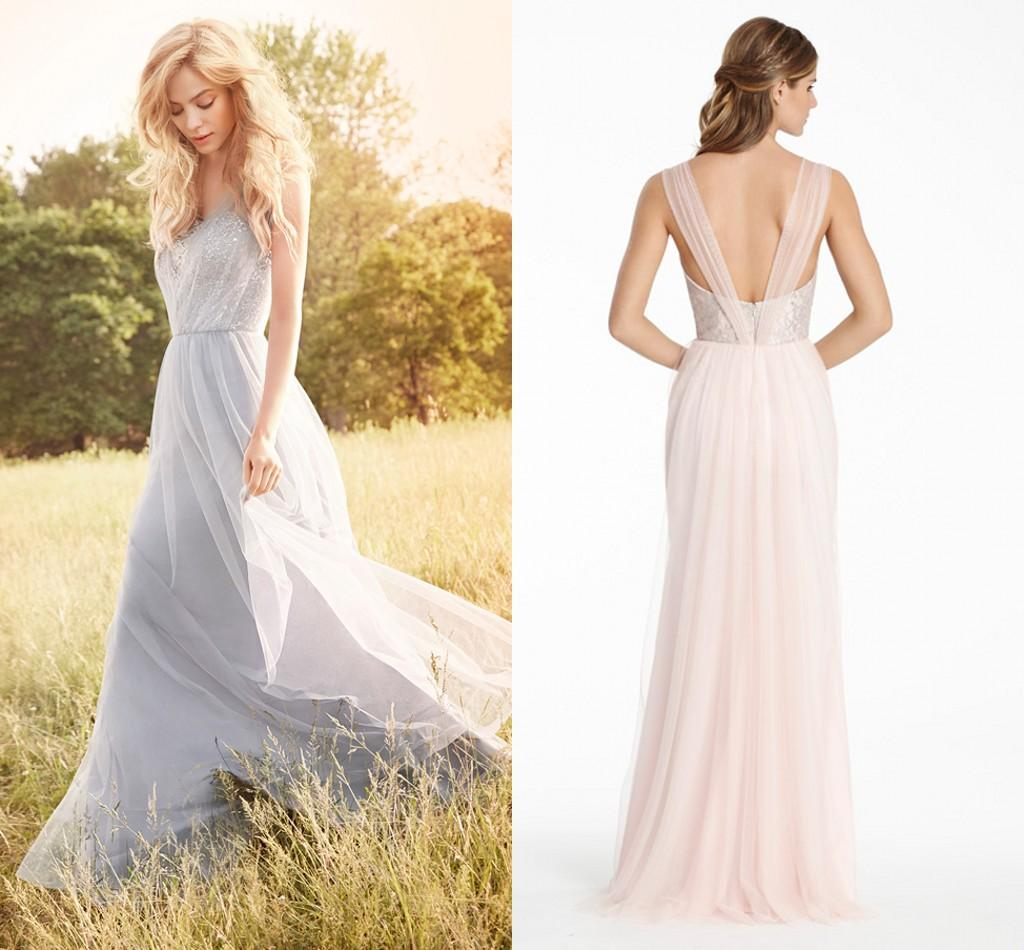 Fall 2015 New Long Bridesmaid Dresses Lace Tulle Pleats