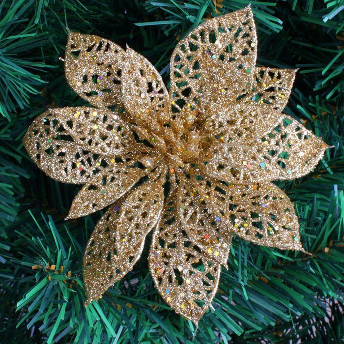 wholesale 15cm gold glitter hollow artificial christmas flowers poinsettia christmas tree decoration christmas decorations accessories christmas decorations - Christmas Decorations Wholesale