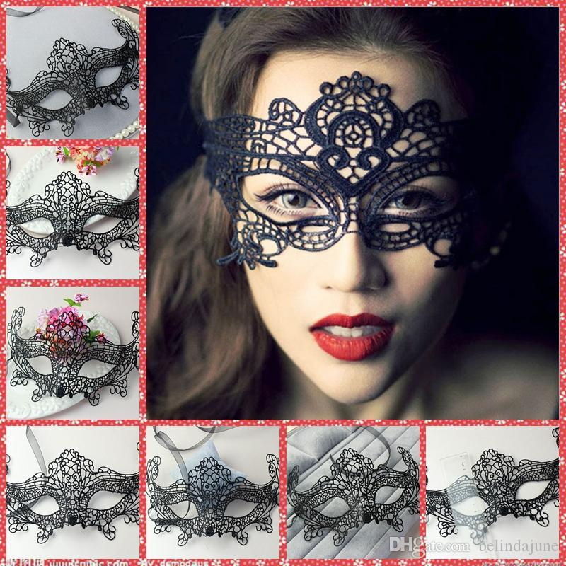 Girls Sexy Black Lace Halloween Masquerade Venetian Half Exquisite ...