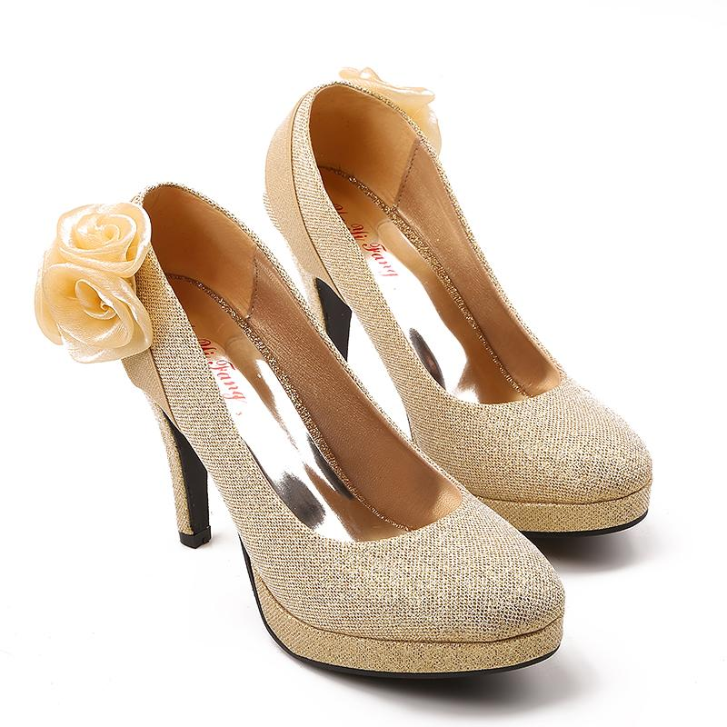 4 Inch High Heels Wedding Shoes Lady Formal Dress Flower Women'S ...