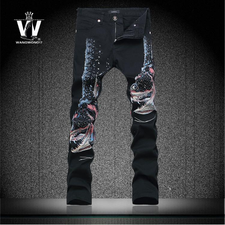 Flower Printed Jeans Men's Fashion 3d Printed Jeans