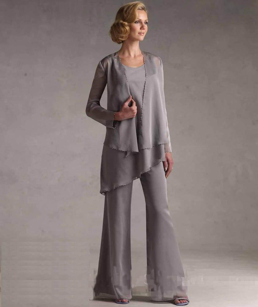 2015 Chiffon Plus Size Mother Of The Bride Pants Suits With Jacket Long Sleeve Square Neckline ...