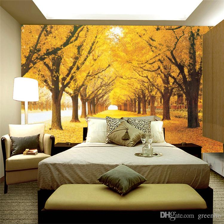 Autumn Birch Street Photo Wallpaper Fallen Leaves Wall Mural Wall