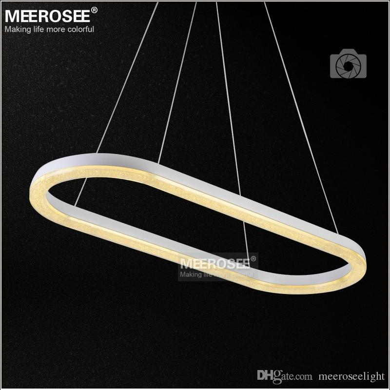 Oval Shape LED Crystal Pendant Light Fixture Lighting White Lustre Suspension Drop Lamp For Dining Room