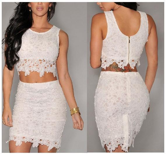 Nice Women'S Crop Top And Skirt Set Hollow Out Lace Tank Top Mini ...