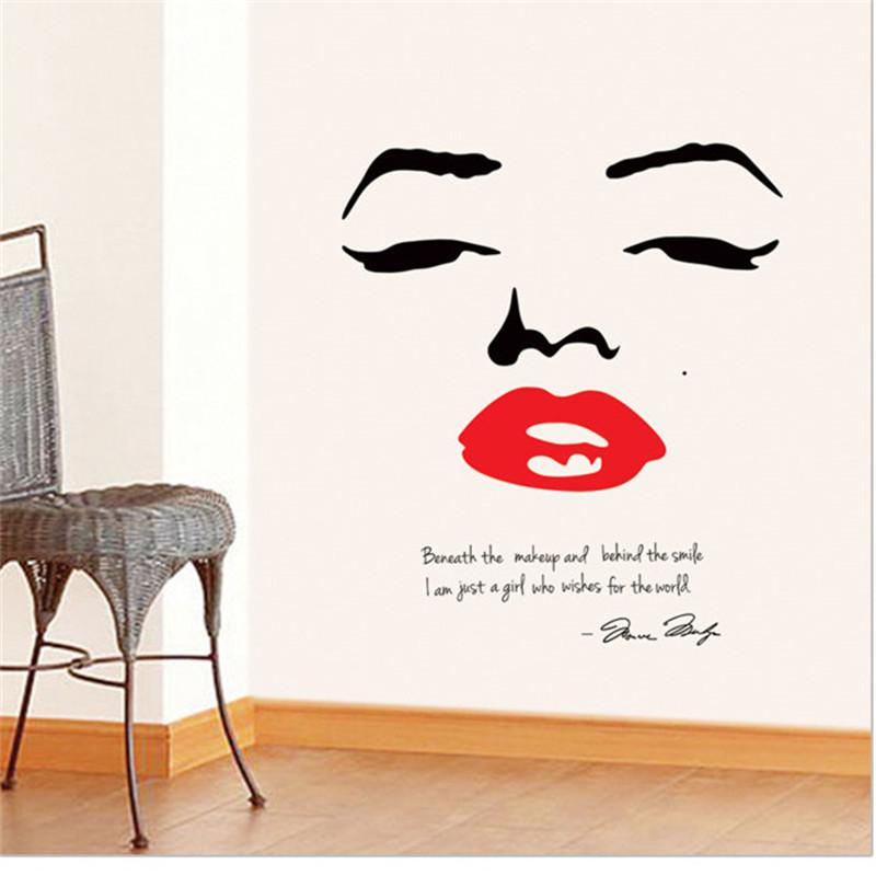 Free Shipping Big size Wallpaper Marilyn Monroe Wall Decor Quote Face Red  Lips Home Decor Wall