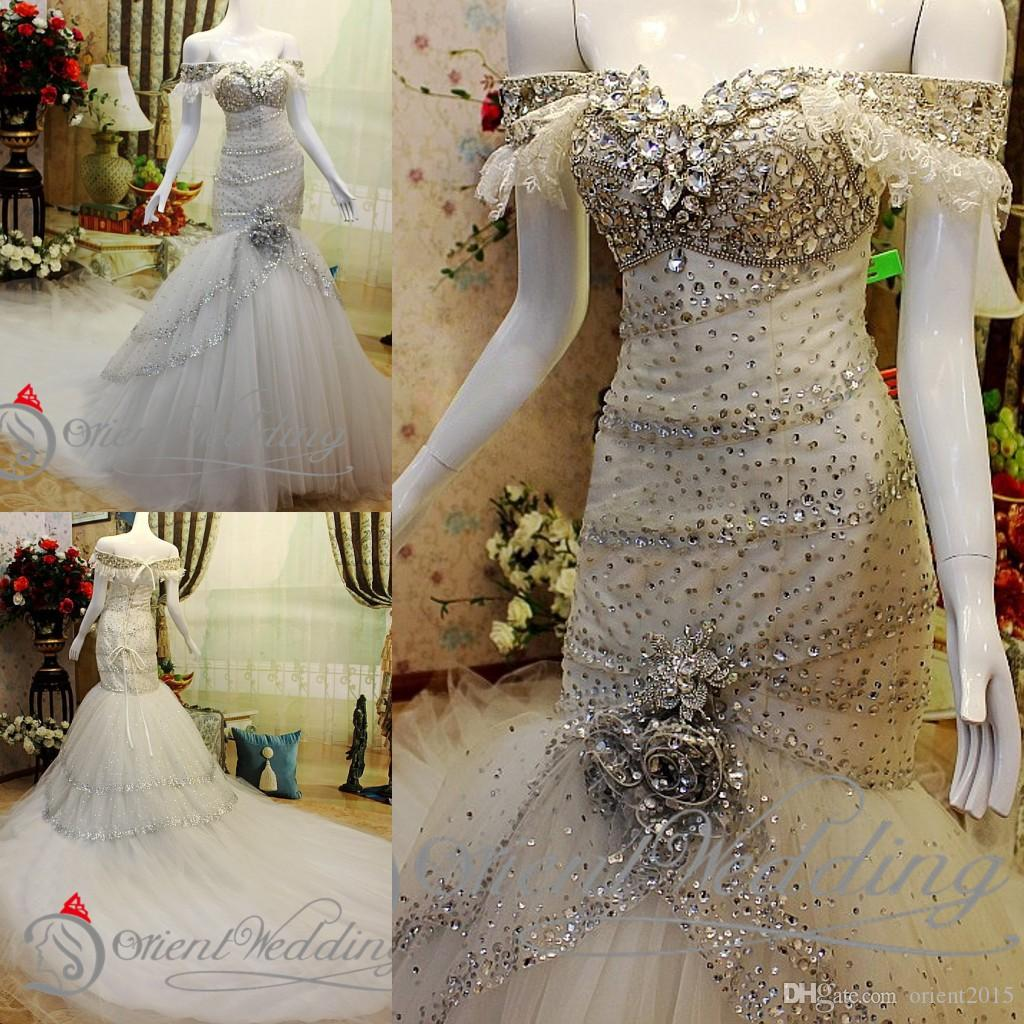 Bling Wedding Dresses Mermaid Style Off The Shoulder Short