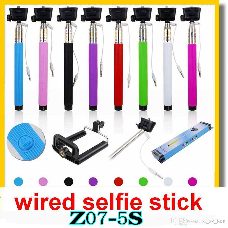 2017 new z07 5plus 5s z07 5 plus extendable monopod wired selfie stick groove. Black Bedroom Furniture Sets. Home Design Ideas