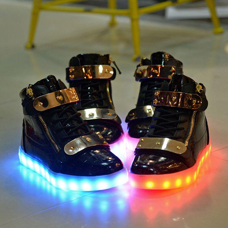 Plus Size 10/11/12/13 Women/Men Led Shoes Couples Glowing Flats ...
