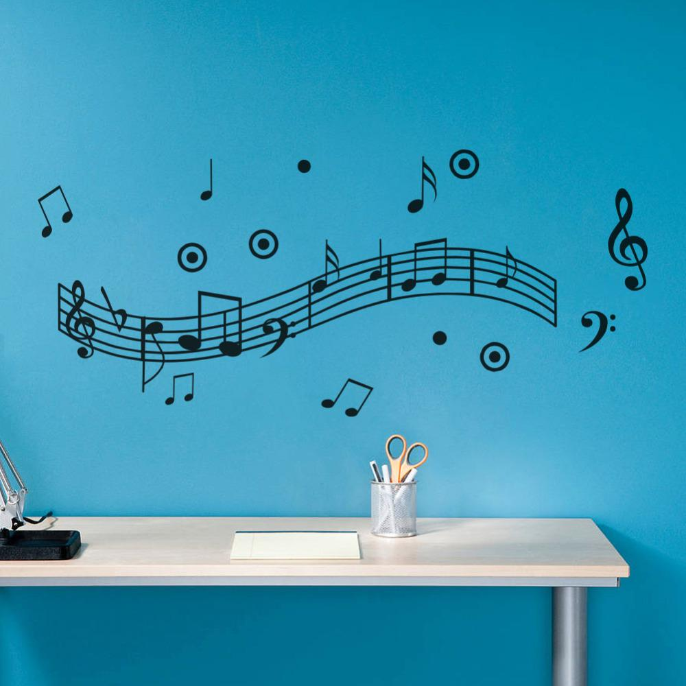 Musical Notes Wall Sticker Dance In The Wind Music Notation Wall Stickers Home Decoration Music Shop Classroom Fashion Diy Kitchen Wall Decals Kitchen Wall