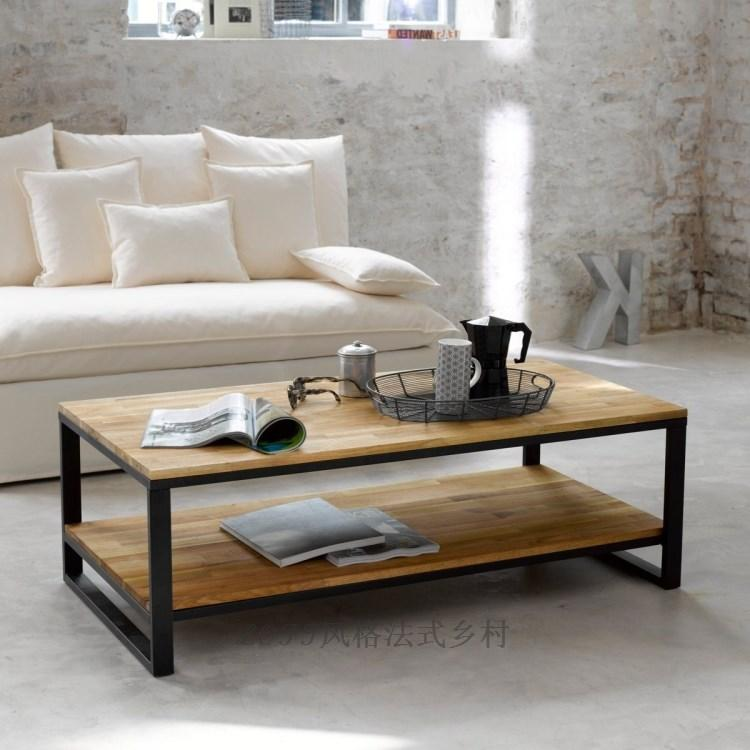 Wood, Wrought Iron Coffee Table Rectangular Retro Rust Proof High Grade  Pine Coffee Table Living Room Coffee Table Desk Aiji Online With  $721.63/Piece On ...