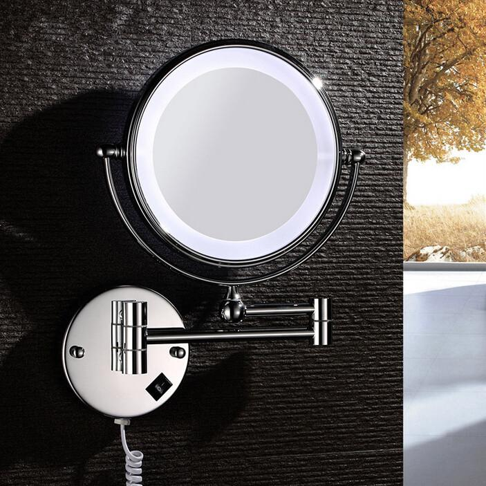 Copper Wall Mount Led Light 360 Degrees Rotatating Make Up Mirror Makeup Mirror Double High ...