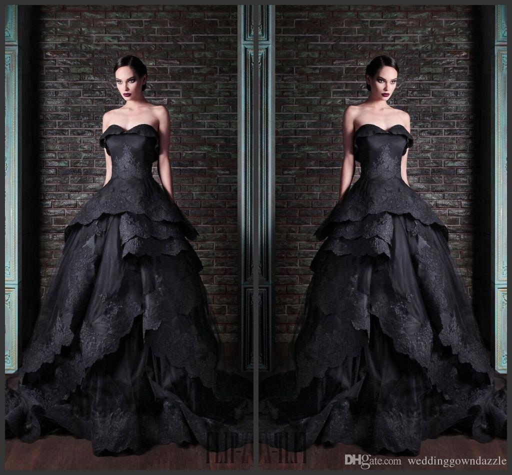 2015 Gothic Black Tiered Wedding Dresses Strapless