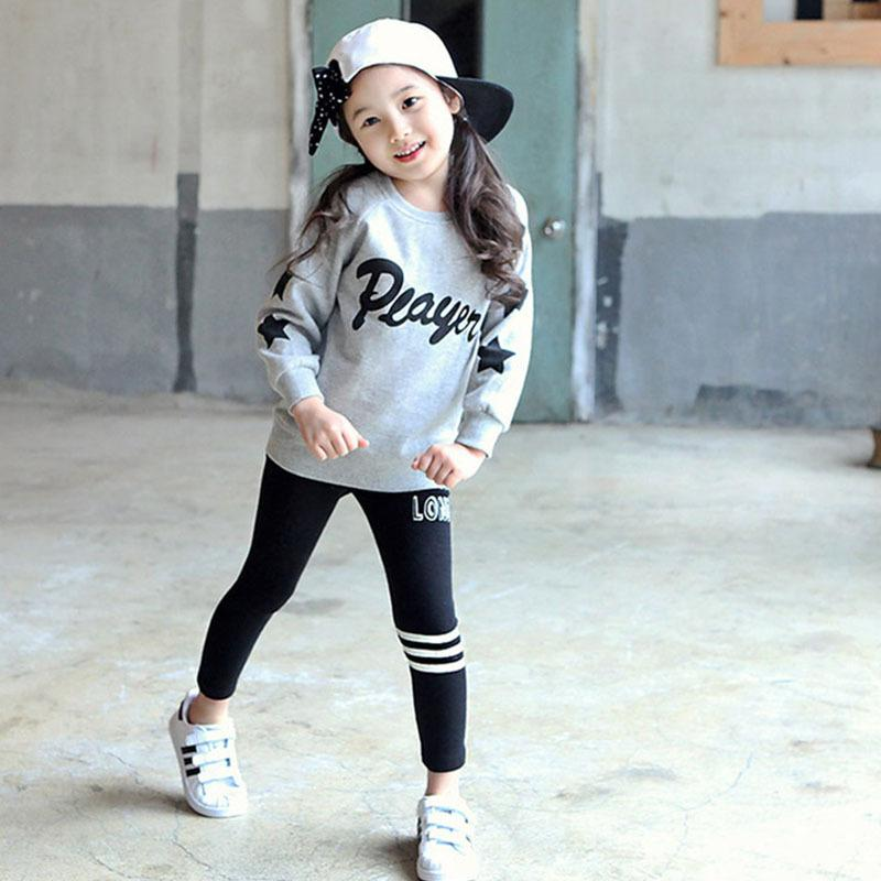 2017 Wholesale New Arrival Children Autumn Clothing Set Korean Style Girls Casual Outfits Kids