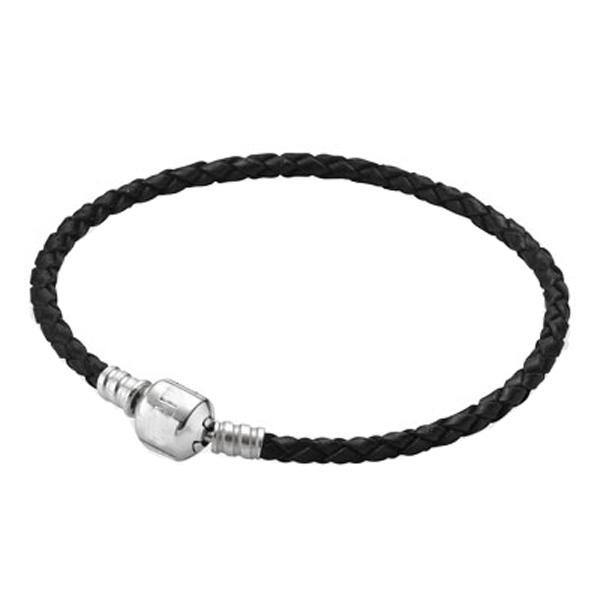 Charms Black Genuine Leather Bracelet 925 Sterling Silver Bracelets Snake Chain Fit European Charm Silver Beads Jewelry 17-23CM