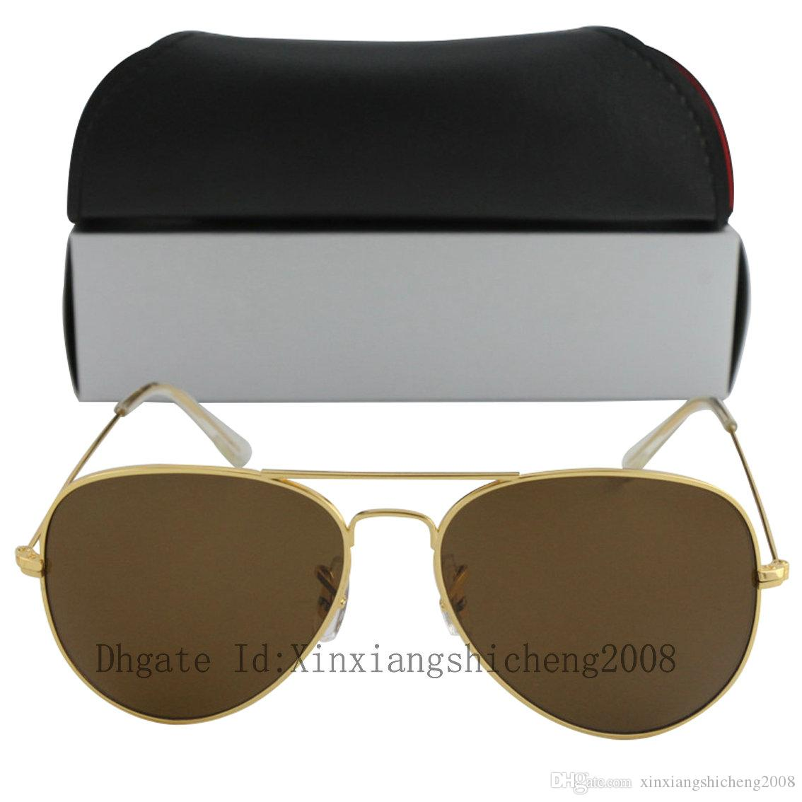 Free shipping Wholesale price Hot 100pcs DHL Ship gold brown lens Men Women Designer Sunglasses 58mm and 62mm With Box Case
