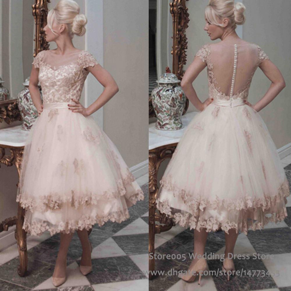 2016 vintage champagne short pink wedding dresses ball for Champagne pink wedding dresses
