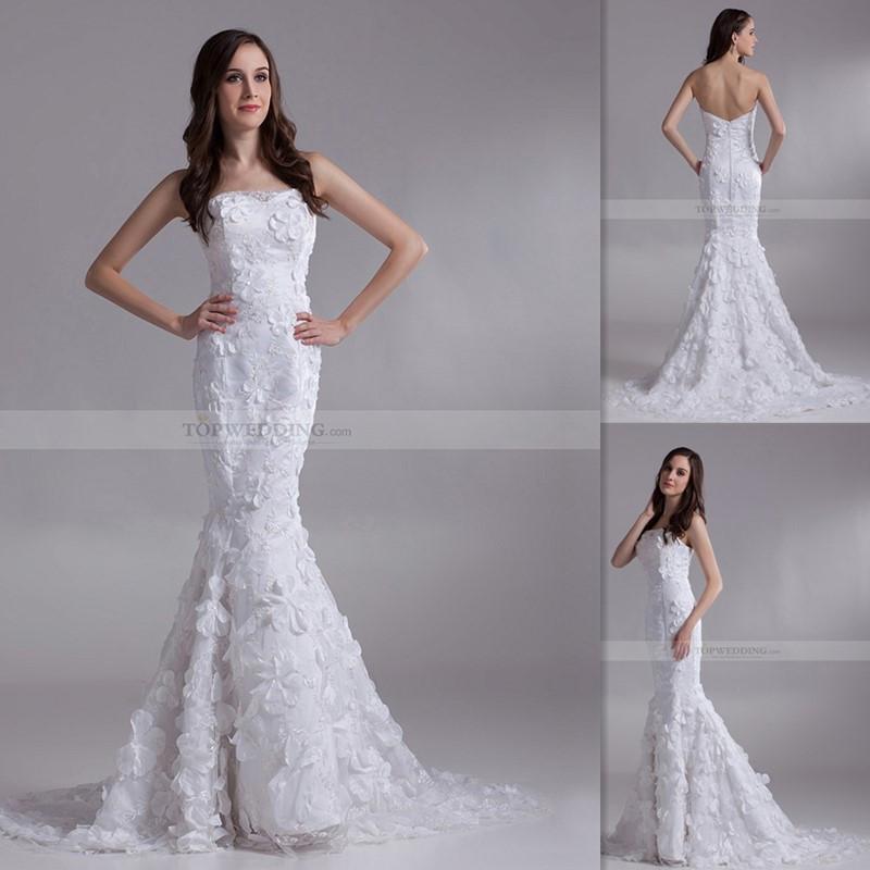 3d floral appliques wedding dresses low back mermaid for Low back wedding dresses for sale