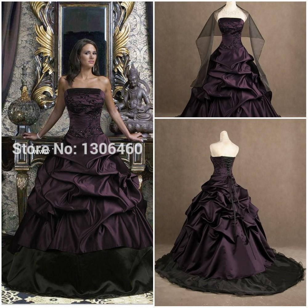 purple and black real picture ball gown wedding dress victorian gothic princess taffeta. Black Bedroom Furniture Sets. Home Design Ideas