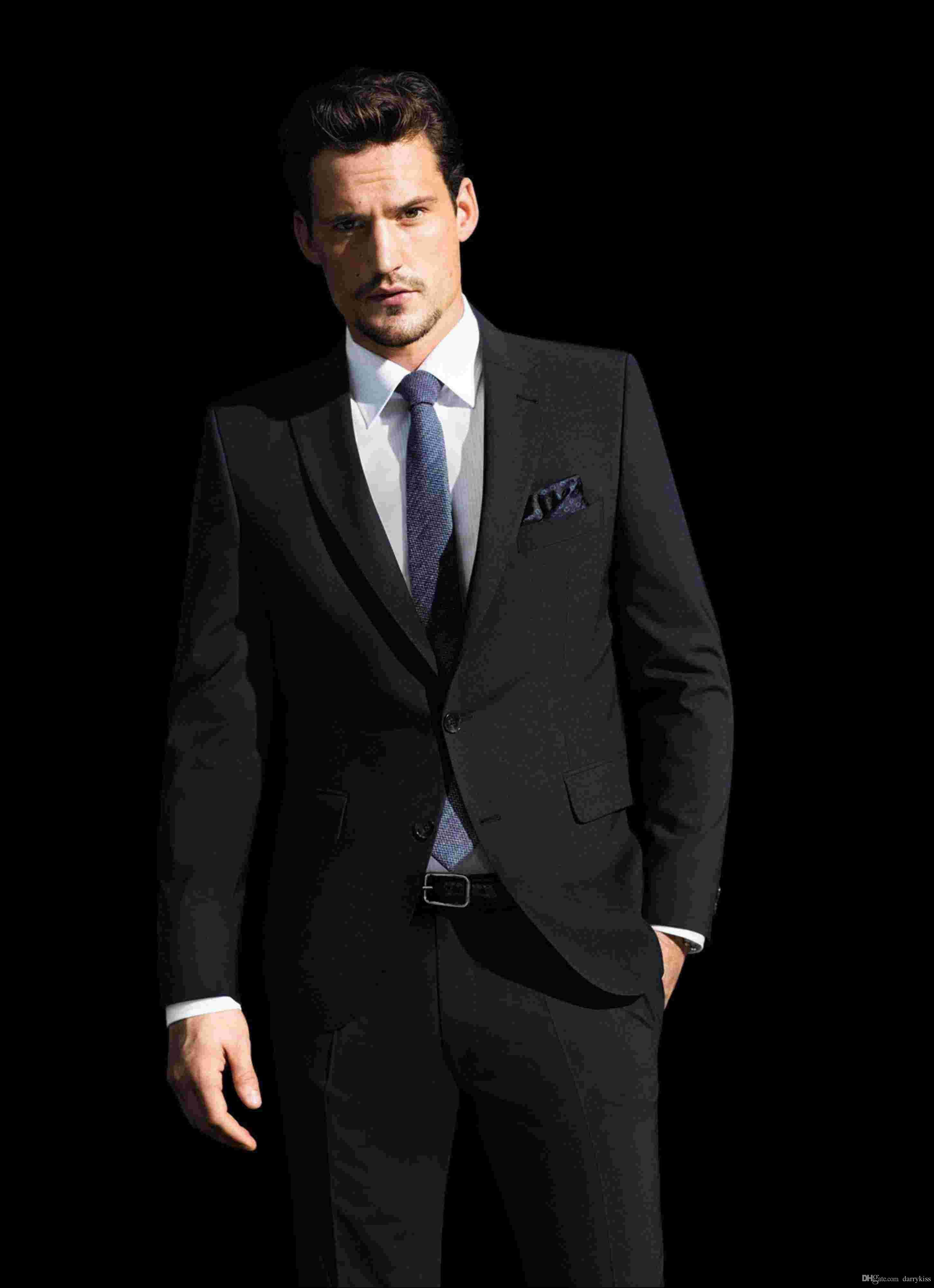 New Arrival Design Black Wedding Suits Men Suits Slim Fit Notched ...